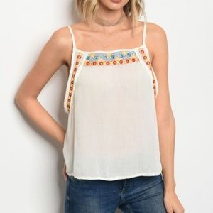 Cream Boho Tank with Embroidery Details